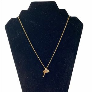 Golden Lock and Key Pendant Necklace